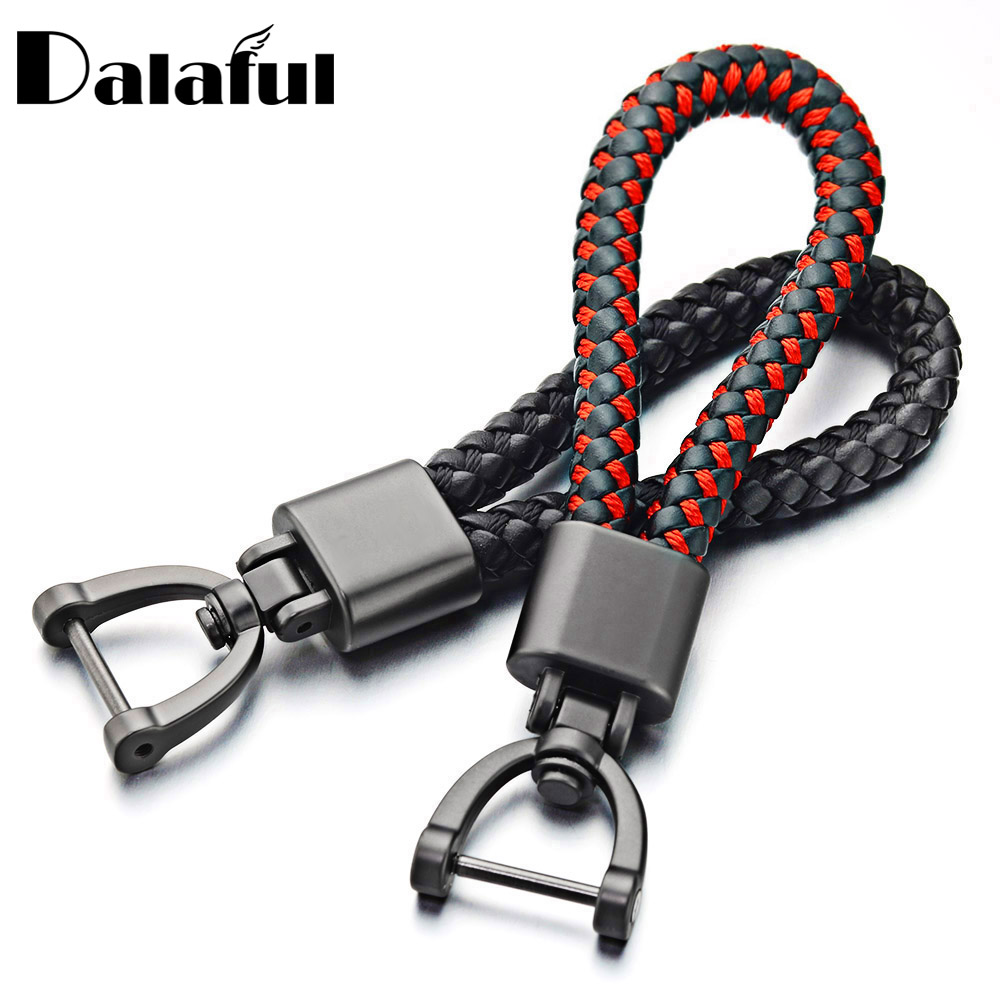 Hand Woven Leather Car KeyChain Detachable Metal 360 Degree Rotating Horseshoe Buckle Key Chain For Men High Quality Gift K393