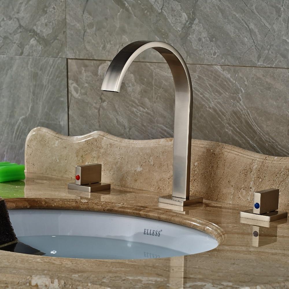 Widespread Brushed Nickel Bathroom Basin Faucet Dual Handles Vanity Sink Mixer декор lord vanity quinta mirabilia grigio 20x56