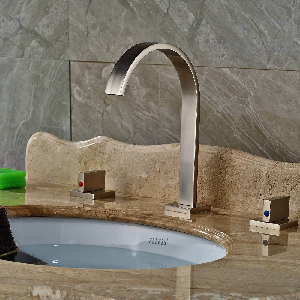 ФОТО Widespread Brushed Nickel Bathroom Basin Faucet Dual Handles Vanity Sink Mixer