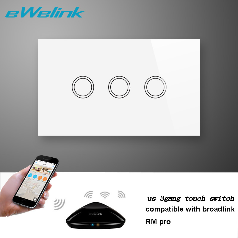 US/AU Standard 3Gang 1way AC110-240V Touch Glass Screen Panel Wall Light Switch Remote Control Switch by Broadlink rm pro RM2 smart home us black 1 gang touch switch screen wireless remote control wall light touch switch control with crystal glass panel