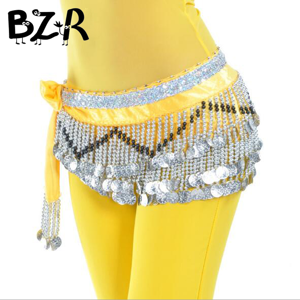 Bazzery Belly Dance Skirt Costumes Women Belly Belt Three Layer Wave 258 Coin Genuine Chiffon Scarfs Skirt Hip Wrap Waist Chain