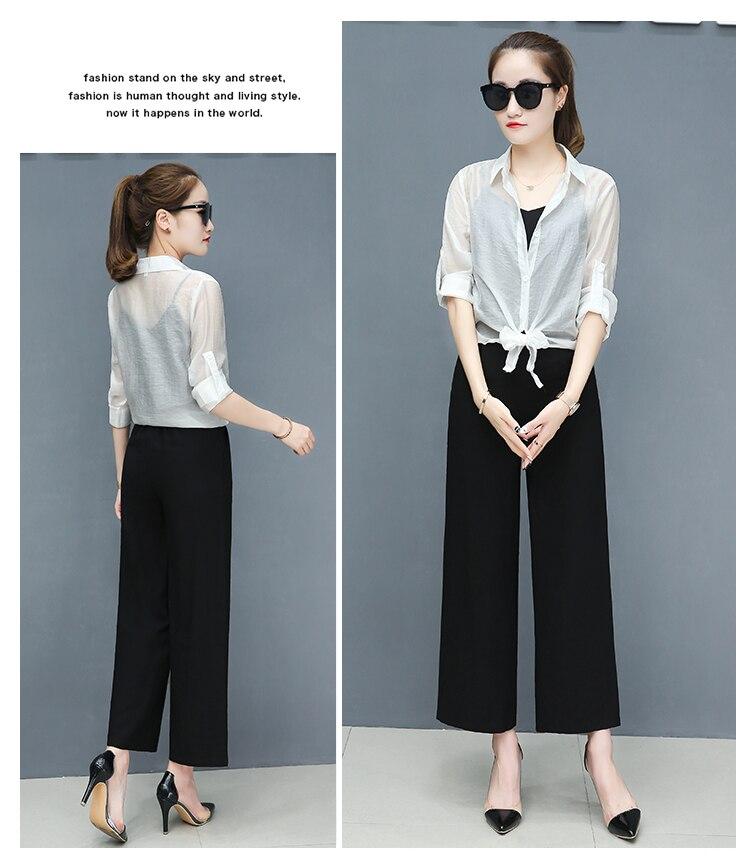 2019 Spring summer women sets office lady elegant chiffon blouse shirts+female wide leg pants trousers pantalon two piece sets 18