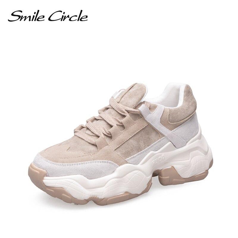 Женские кроссовки со смайликом; дышащая обувь; Новинка 2019 года; весенняя обувь на плоской платформе; женская уличная обувь на толстой подошве