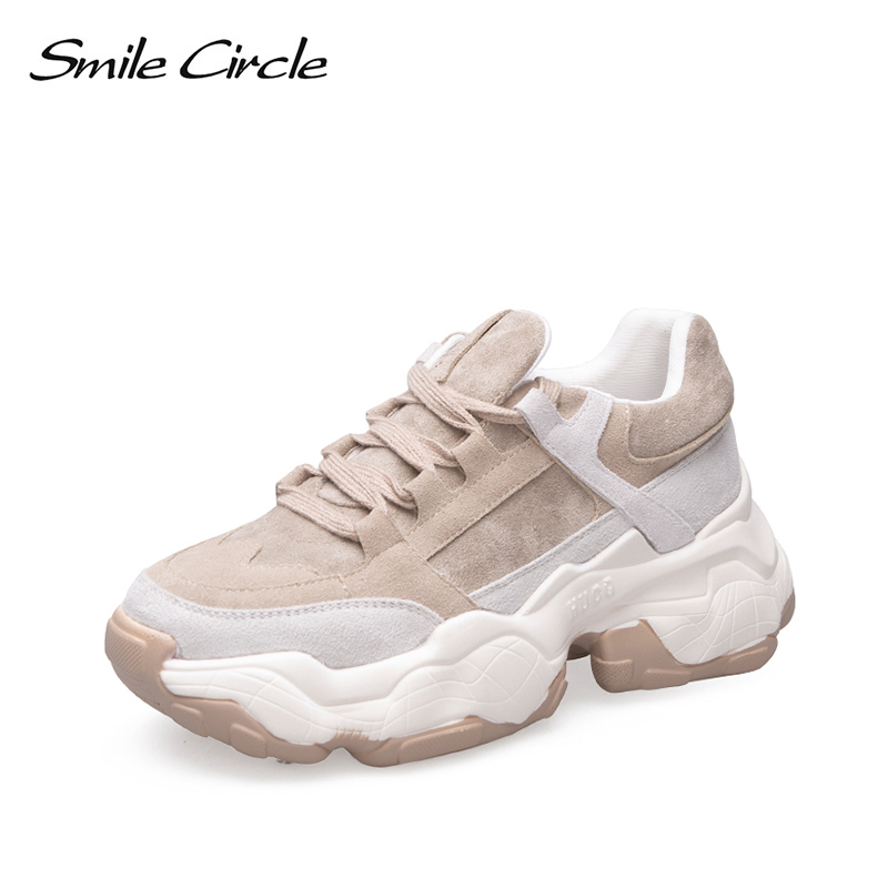 Sorriso Círculo Mulheres Sneakers Respirável Sapatos 2019 nova primavera sapatos de Plataforma Plana menina Grosso inferior Senhoras sapatos Ao Ar Livre