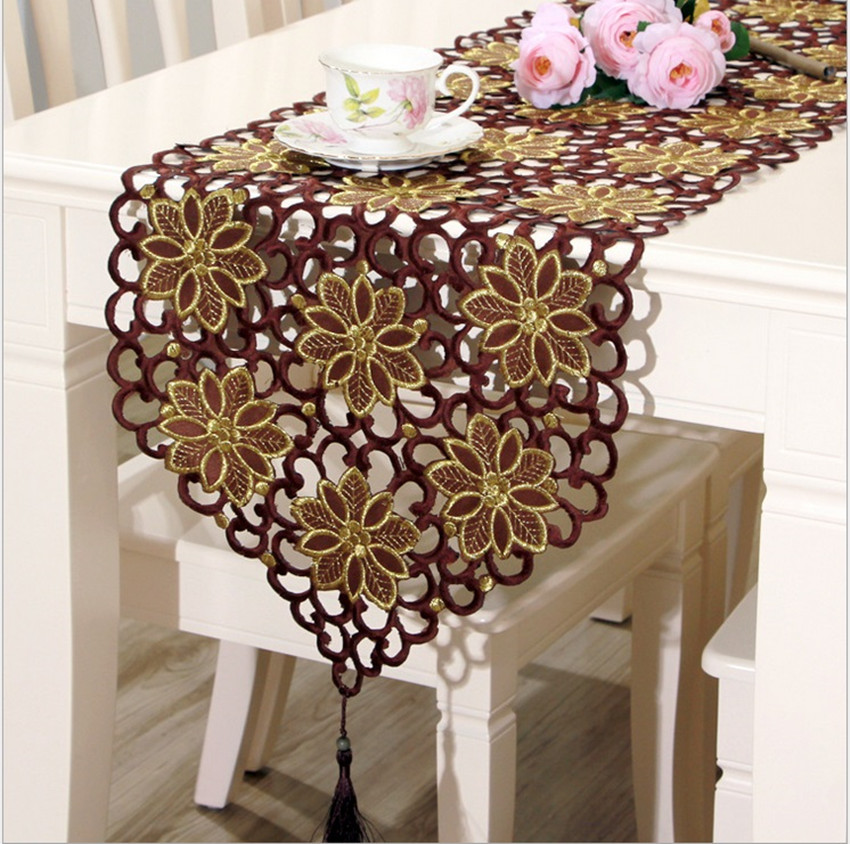 Chinese Classic Style Coffee&Gold Hollow Embroidered Table