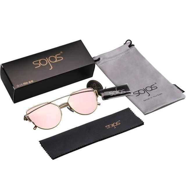 6ad0f0f9f0 SOJOS Sunglasses Women Men Cat Eye Accessories Sun Glasses Fashion Brand  New Twin-Beams Pink