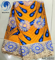 LIULANZHI African Wax Hollandais With Guipure Wax With Lace High Quality Nigerian French Lace Fabric For