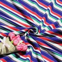 Arte del paño de algodón elástico del arco iris de colores de moda de verano camisa suéter 100% de algodón de la raya