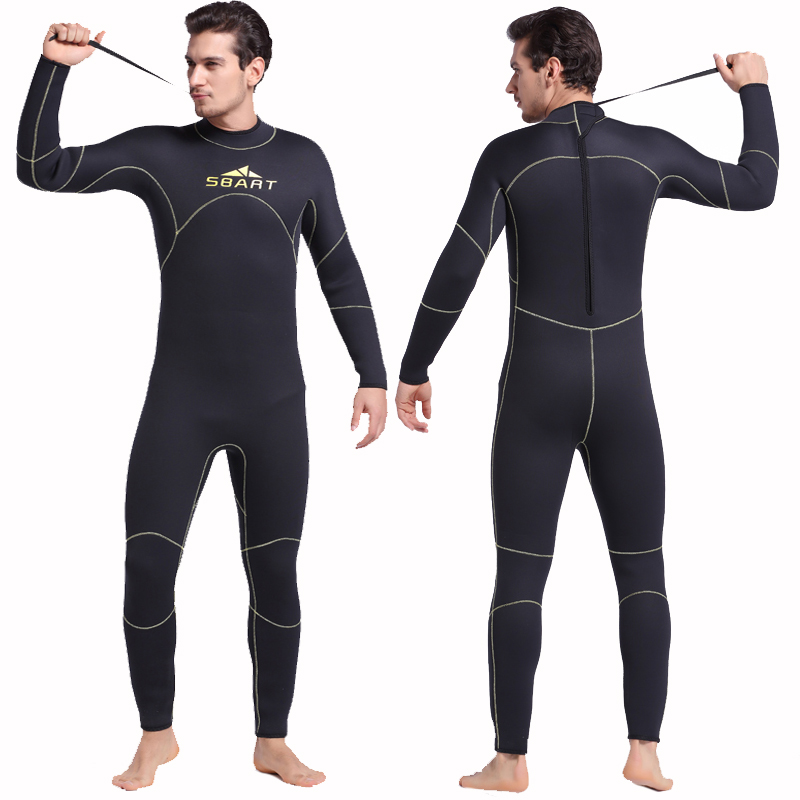 SBART 2017 Warm Men 5MM Thick Neoprene Spearfishing Wetsuit Black Solid One Piece Scuba Diving Suits Surfing Sailing Wet Suits J