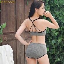 MSSNNG Brand Women Exercise Sports Bra Set V Neck Fitness Yoga Bra Cross Back Le