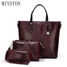 купить Luxury Alligator Women Leather Bag 3 Piece Suit Crossbody Handbag Female Tote+Shoulder Bag+Clutch Messenger Bag Bolsa Feminina дешево