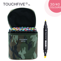 TOUCHFIVE T5S 30 40 Colors Dual Tip Black Barrel Sketch Markers Camouflage Bag For Drawing Painting