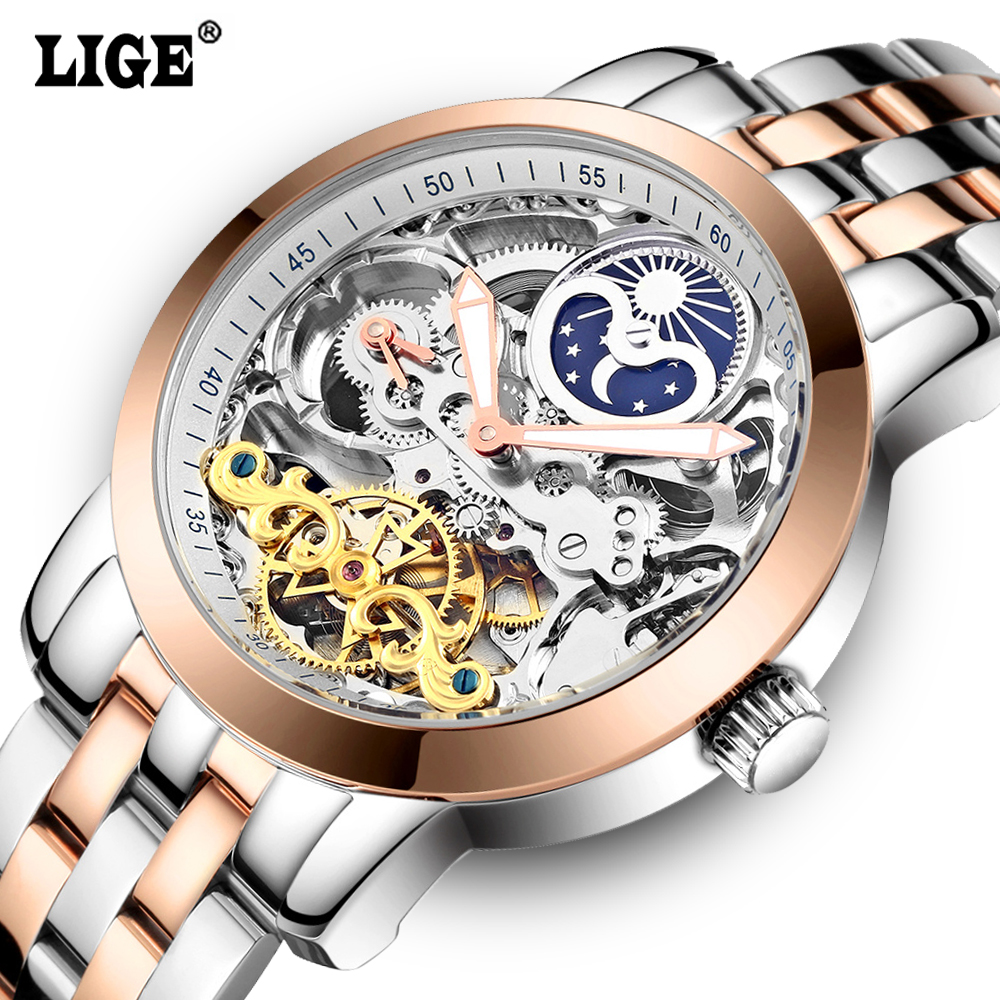 LIGE Mens Moon phases Tourbillon Automatic mechanical font b Watches b font Men Top Brand Luxury
