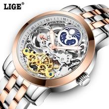 LIGE Mens Tourbillon fases de La Luna mecánico Automático Relojes de Los Hombres Superiores de la Marca de Lujo de Buceo 50 M reloj de acero llena de Negocios Hombre Clcok