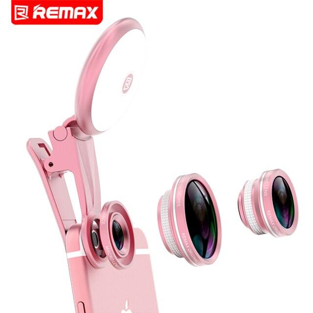 Remax 4 en 1 clip de 180 grados de ojo de pez lente ojo de pez 150 grados Lente Gran Angular 50 X Lente Macro Con Llenar De Luz Para iphone