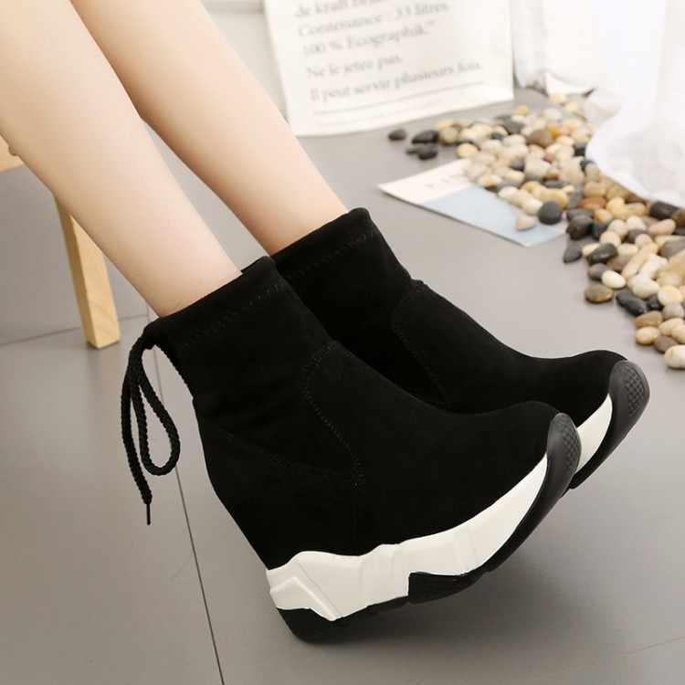 SLYXSH Kadın yarım çizmeler Platformları Ayakkabı Kadın Yüksek Topuklu Içinde Yüksekliği Artan Faux süet Çizmeler Lace up Sneakers 35-39