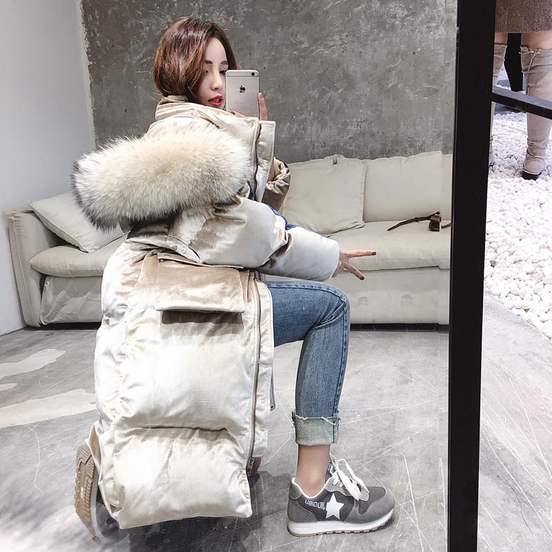 Anti Season Silk Velvet Cotton Dress Female Middle Length 2018 Winter New Cotton Jacket, Korean Version Loose Big Wool Collar Do