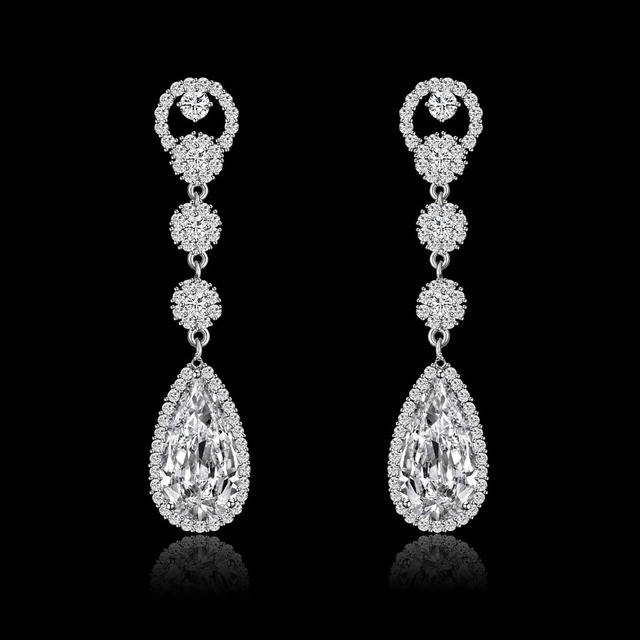 Julie placa de ouro aaa cz brinco de cristal brincos longos gota para as mulheres presente de natal festa de casamento de luxo acessórios jje10457