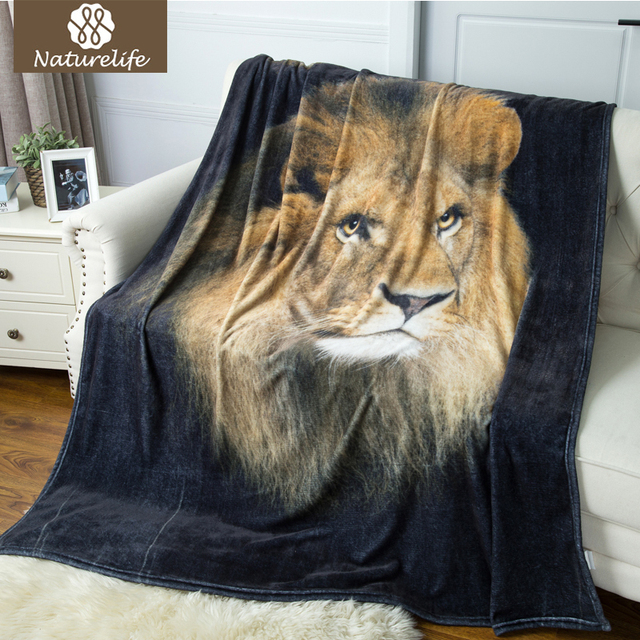 Aliexpress Buy Naturelife Digital Printing Warm Blanket Cool Lion Blanket Or Throw