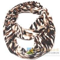 Estampado de Zebra marrón infinito bufanda envío libre del algodón suave