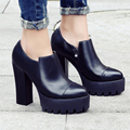 Estilo casual europea cuero genuino sexy pies en punta bombas plataforma de la cremallera cuadrado negro mujeres zapatos de tacón alto