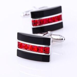 Image 5 - KFLK biżuteria modna koszula spinka do mankietu dla mężczyzn prezent marka spinka mankietowa czerwony kryształ spinki do mankietów wysokiej jakości abotoaduras goście