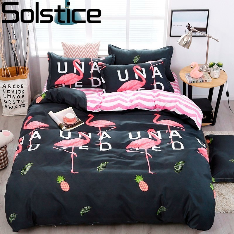 Solstice Bed Linings Pillowcases Bedclothes-Sets Comforter Duvet-Cover Bed-Sheet Flamingo-Style