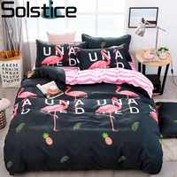 Solstice Stylish Black Flamingo Style Comforter Bedding Set 3/4pcs Bedclothes Sets Bed Linings Duvet Cover Bed Sheet Pillowcases