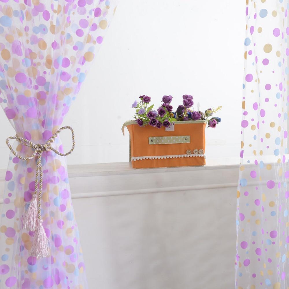 Purple polka dot curtains - Polka Dots Drape Panel Sheer Scarf Valance Tulle Voile Curtain Door Room Window Curtains 1pcs 100cmx200cm