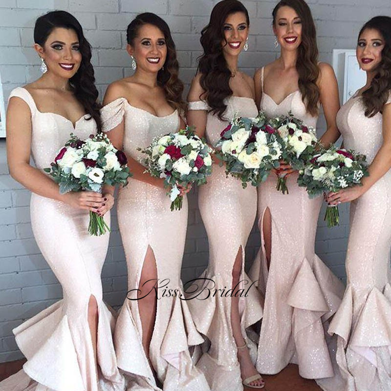 New Arrival Long   Bridesmaid     Dresses   2017 Mermaid Sequined Satin Floor Length Side Slit Wedding Party   Dresses