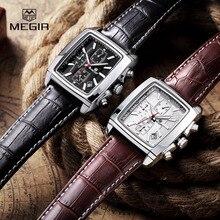 MEGIR SL2028G Функция Хронографа мужская Титан Смотреть Натуральная Кожа Люкс мужская Лучший Бренд Военные Часы Relógio Masculino