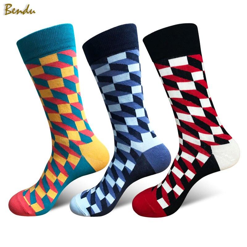 Bendu 11 Styles Men Cotton Colorful Fashion Socks Brand New Multi-Color Anti-Bacterial Deodorant Casual Man Sock (3 Pairs / Lot)