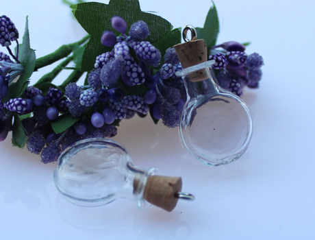 10pc Cognac Bottle(20x26MM,1.5ML) Perfume Bottle pendant ,Lovely mini glass bottles.