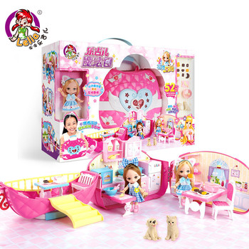 Lelia dolls Girl play house big gift box children dream kitchen dollhouse miniature furniture toy children birthday gifts dream box