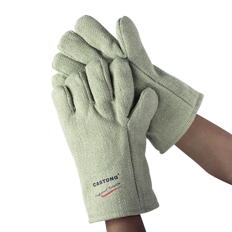 ФОТО 600 degrees high temperature gloves 34CM aramid Anti-scalding safety glove Flame retardant fire gloves