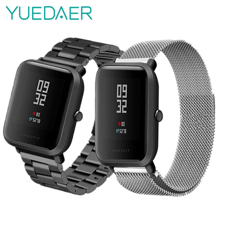 YUEDAER Magnetische Metall Strap Für Xiaomi Amazfit Bip Smart Uhr Band Milanese Edelstahl Armband Armband Für Amazfit Bip