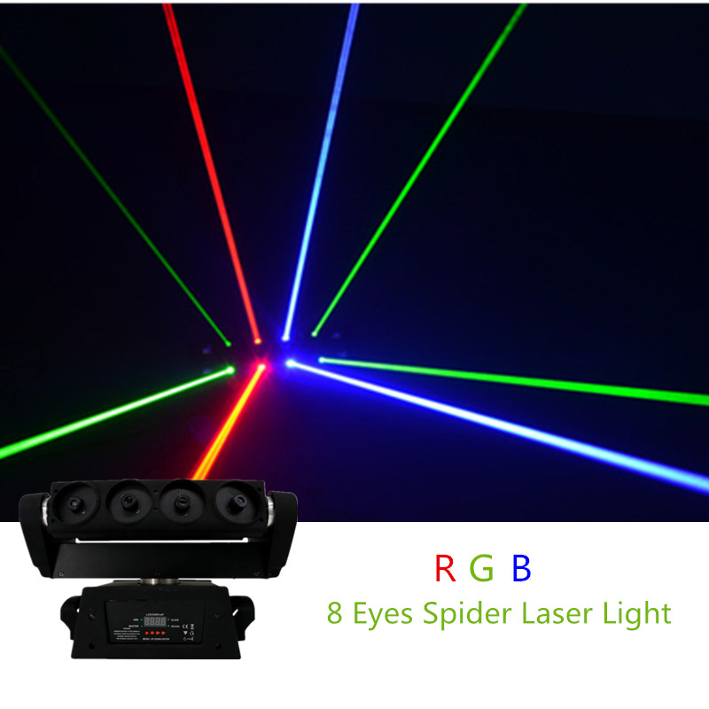 AUCD 8 Eyes RGB Moving Head Spider Beam Laser Light DMX Master-slave Stage Lighting for DJ Party Club Show DJ-108 9 moving head laser spider light green color 50mw 9 triangle spider moving head light laser dj light disco club event