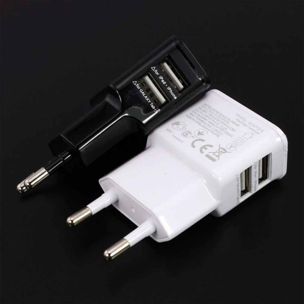 Uni Eropa Plug 5V 2A Dual USB Universal Mobile Phone Charger Travel Charger Adapter Plug Charger untuk iPhone untuk android