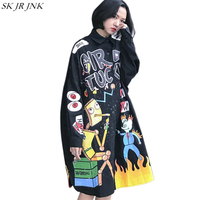 Cartoon Print Loose Oversize Cotton Windbreaker Fashion 2018 Autumn Winter Overcoat Women Long Sleeve Casual Lady Trench WQ444