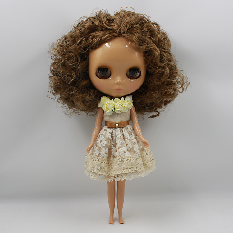 Free shipping cost curly hair Nude blyth Doll black doll