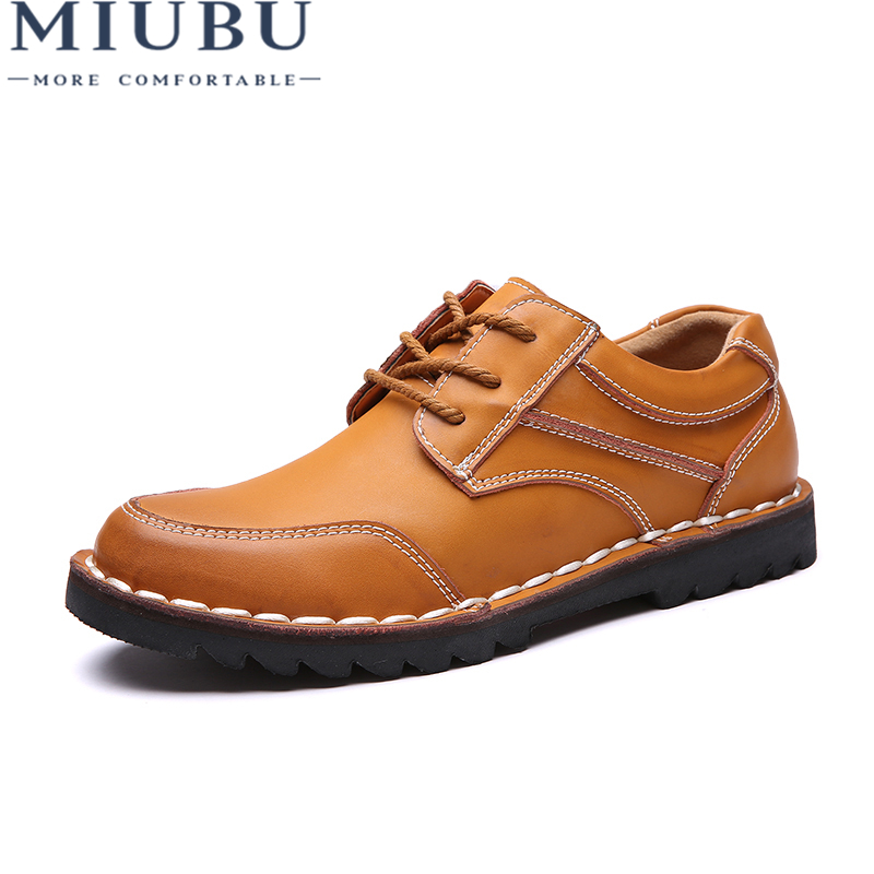 MIUBU Genuine Leather Men's Shoes Autumn Winter Casual Waterproof Work Shoes Outdoor Rubber Lace-up Oxfords Chaussure Homme