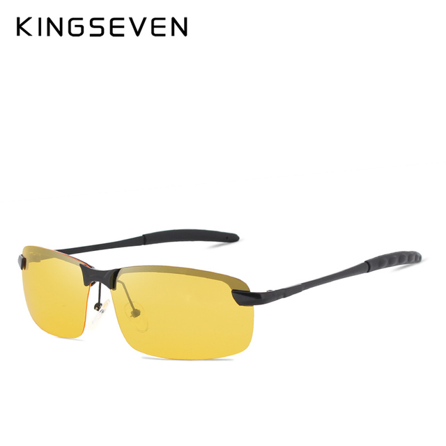 KINGSEVEN Night Vision Goggles Driving Polarized Sunglasses for men's car Driving Glasses Anti-glare Alloy Frame glasses night 2