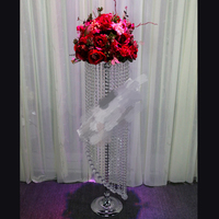 90CM by Dia.20cmTall/20pcs Lot/K9 Crystal Wedding Centerpiece Stand/Wedding Candelabra/20cm Top Flower Plate