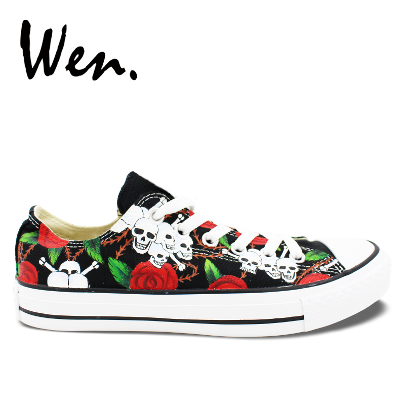 f076eb9e4ce9 Wen Original Hand Painted Shoes Design Custom Roses Skulls Black Low Top  Canvas Sneakers Men Women s Christmas Birthday Gifts