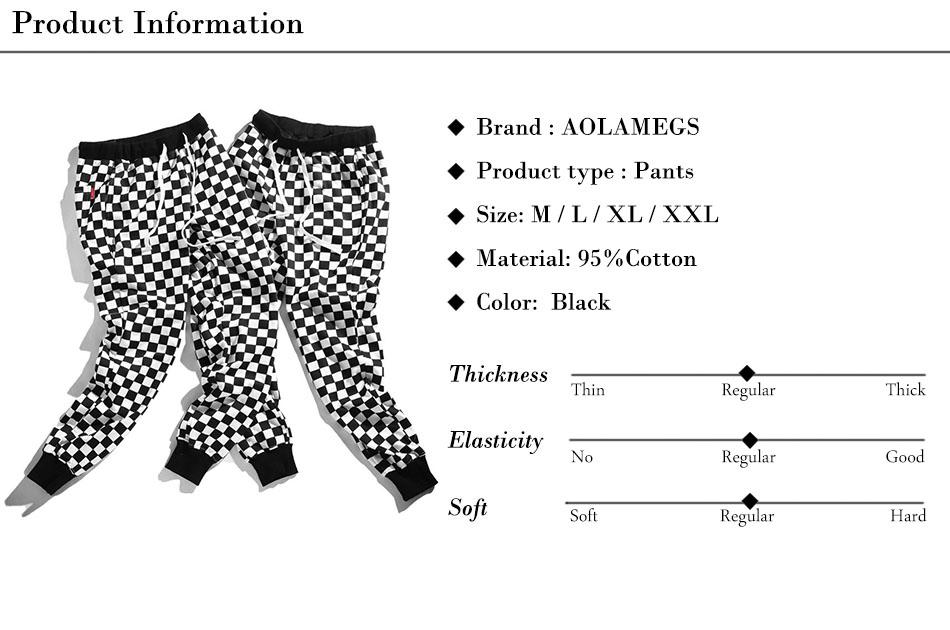 Aolamegs Pants Men Plaid Checkerboard Pants Fleece Thick Trousers Pants Mens Tactical Elastic Waist Fashion Joggers Sweatpants (15)