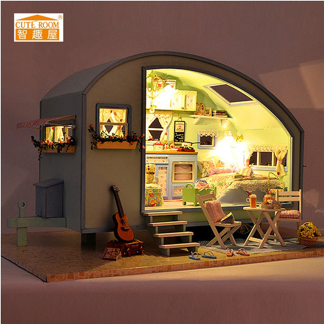 cuteroom diy wooden dollhouse miniature kit doll house ledmusicvoice control handmade kits - Wooden Dollhouses Designs