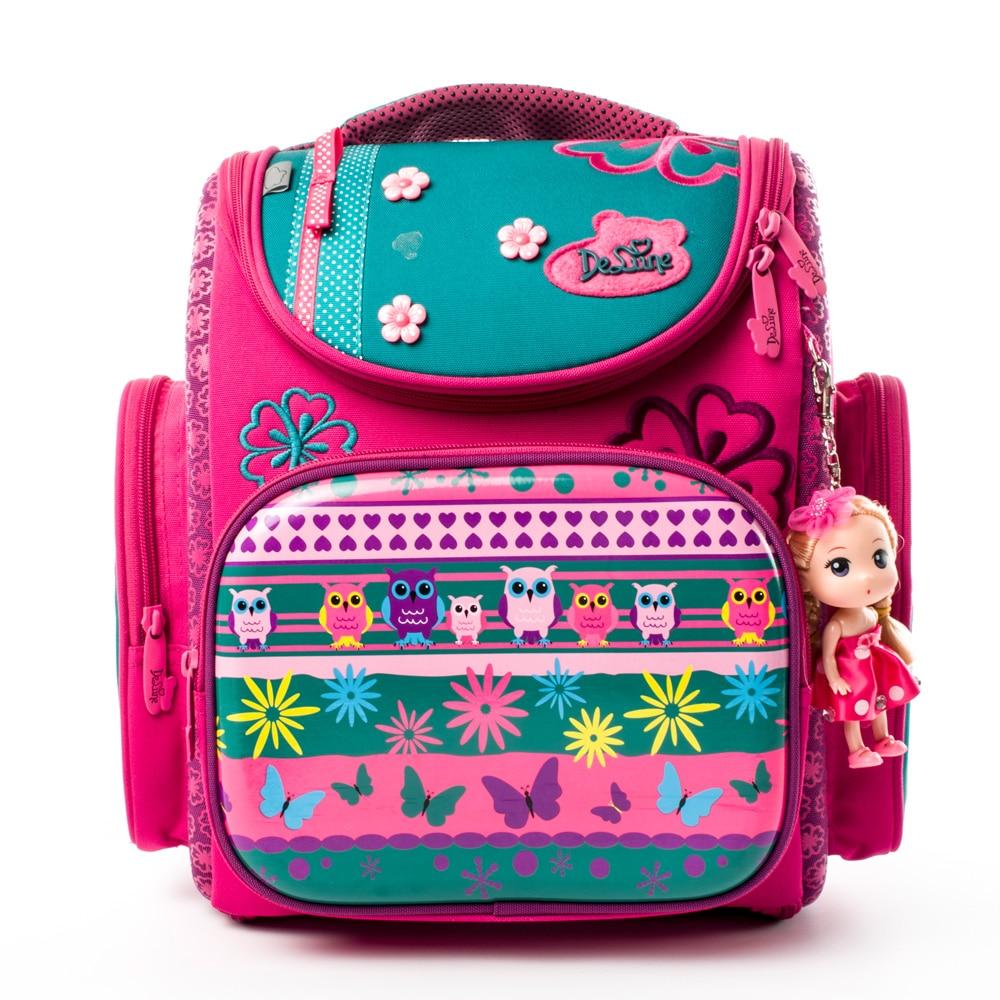 Delune New Orthopedic European Children School Bag Girls Lovely Cat Pattern Cartoon Mochila Infantil Large Capacity