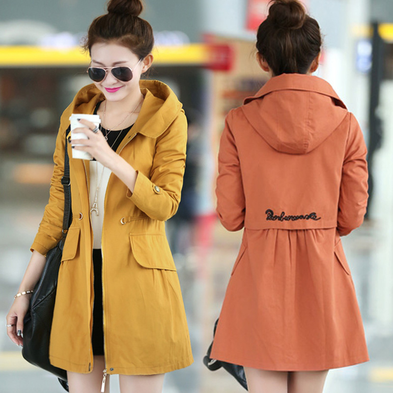 Hitz Korean version of the Spring and Autumn was thin cotton coat Girls long coat female models