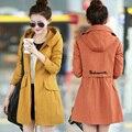 Hitz versão Coreana da Primavera e No Outono era magro casaco de algodão Meninas casaco longo modelos femininos