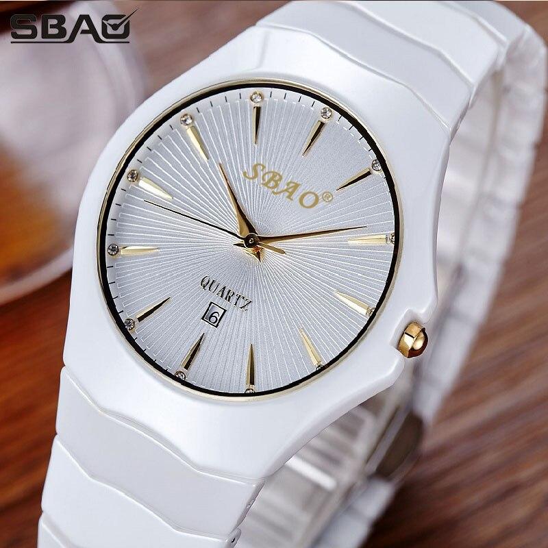 Роскошные керамика женское платье часы бренд SBAO модные повседневное Шарм Леди кварцевые часы Новинка 2017 года простой дизайн Relogio Masculino